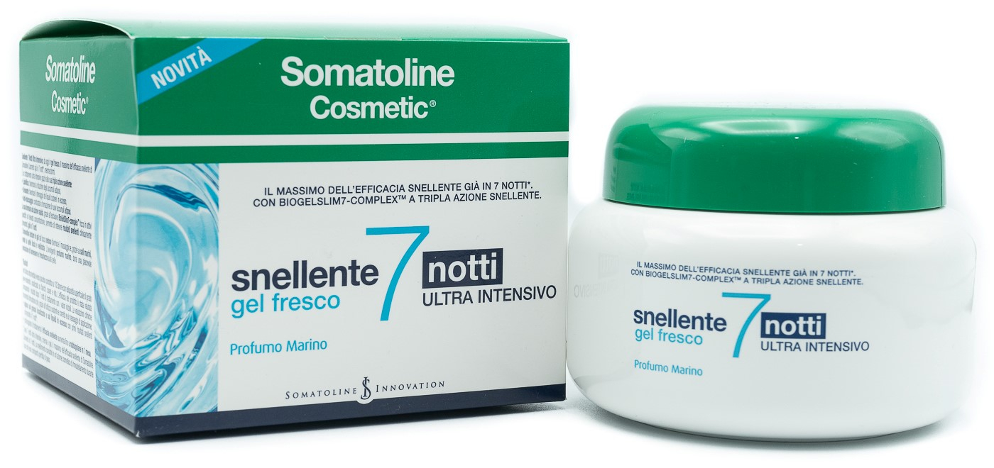 SOMATOLINE SNELLENTE 7 NOTTI GEL FRESCO 400 ML ULTRA INTENSIVO CON BIOGELSLIM7-COMPLEX - SALE MARINO - SERICOSIDE - SPHACELARIA SCOPARIA A TRIPLA AZIONE SNELLENTE : LIPOLITICA - DRENANTE - ANTI-STOCCAGGIO.