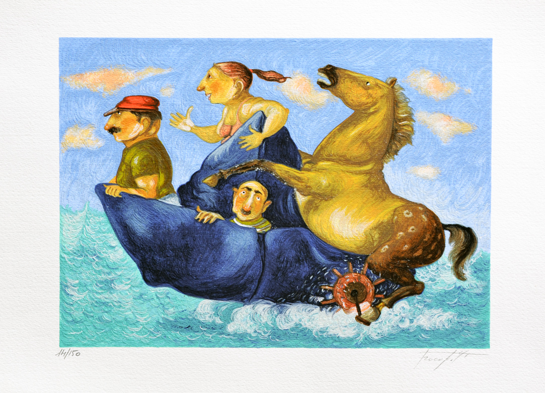 Procopio Pino Cavallo marino Serigrafia Formato cm 35x50