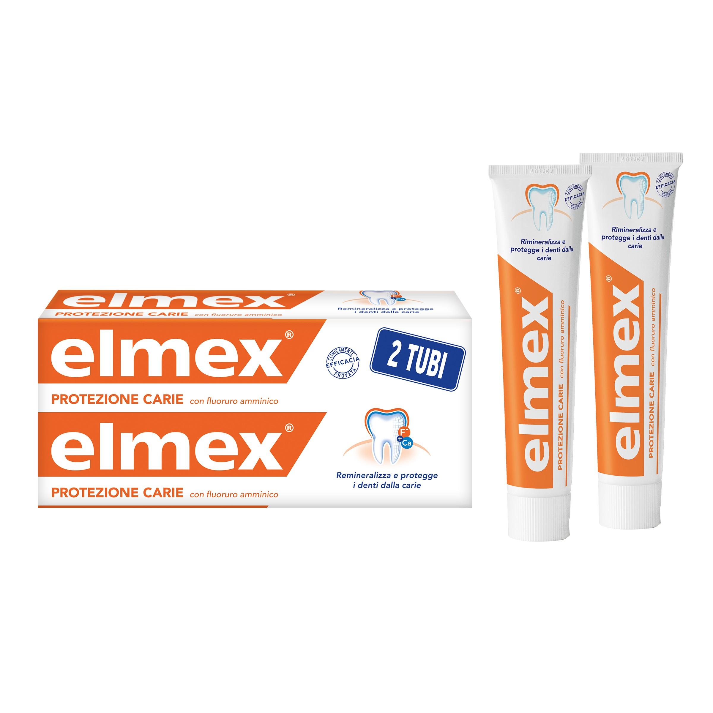 ELMEX PROTEZIONE CARIE 2 TUBI DA 75 ML CON FLUORURO AMMINICO REMINERALIZZA E PROTEGGE I DENTI DALLE CARIE.