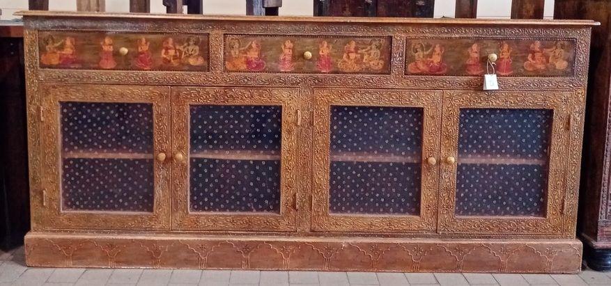 Buffet in legno di mango 3 cassetti 4 ante dipinto a mano