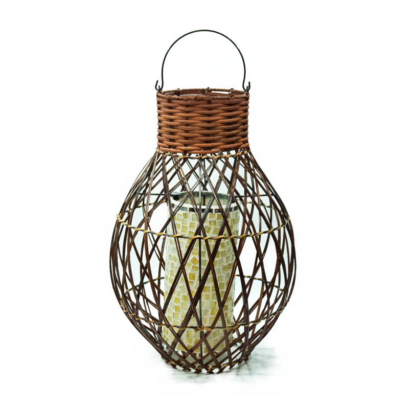 Lampadario intreccio rattan naturale brown