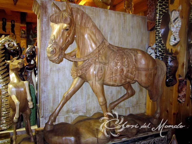 Statua Cavallo H 105 cm in legno di suarn