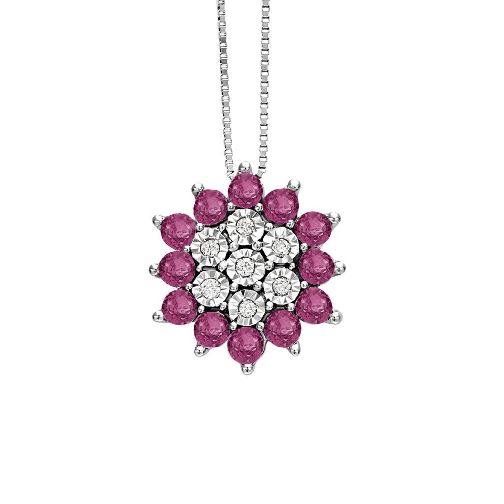 Collana Bliss elisir oro bianco diamanti e rubini