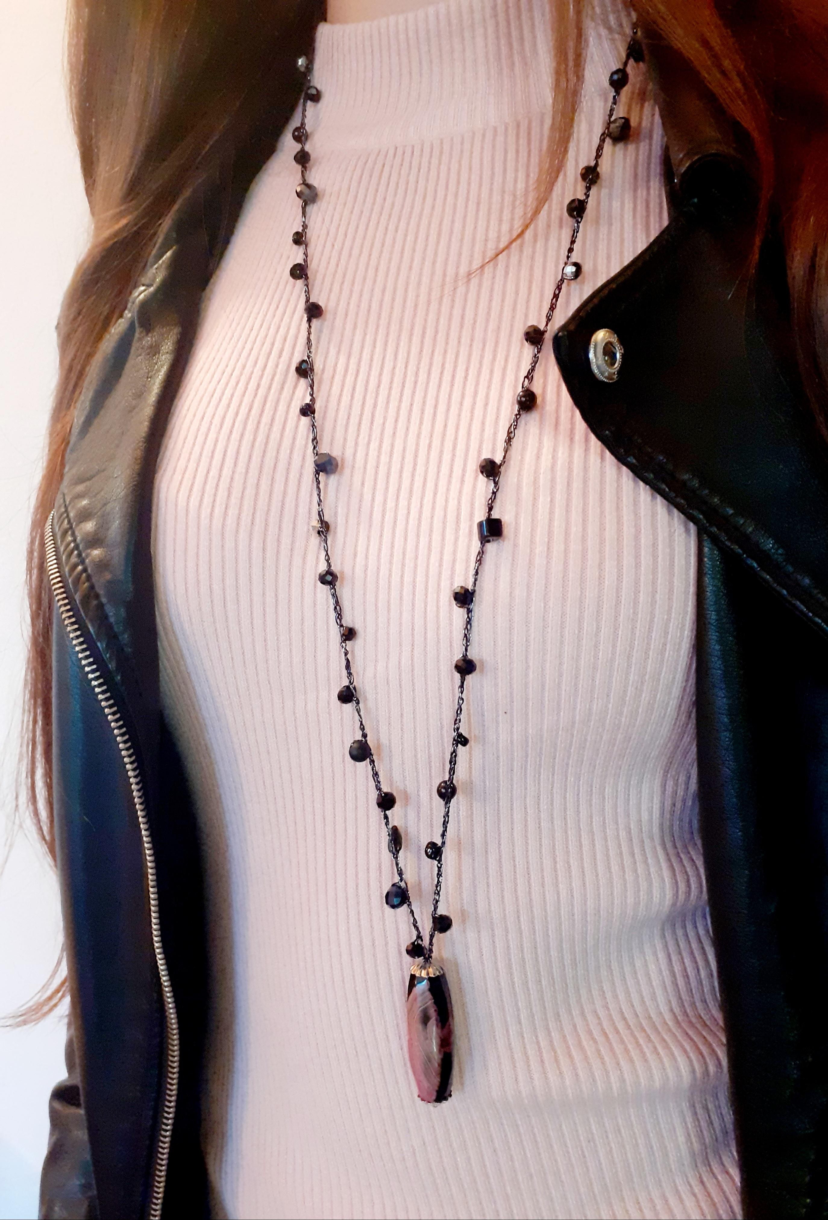 Collana lunga con agata di fuoco | Vendita online bijoux