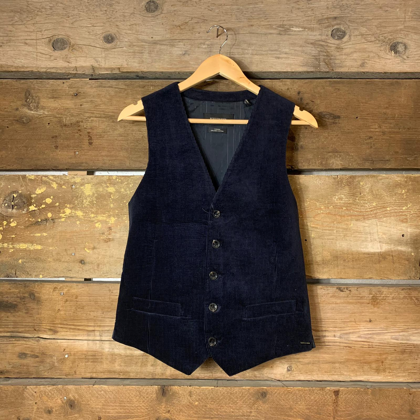 Gilet Scotch & Soda in Velluto a  Costine Blu Navy