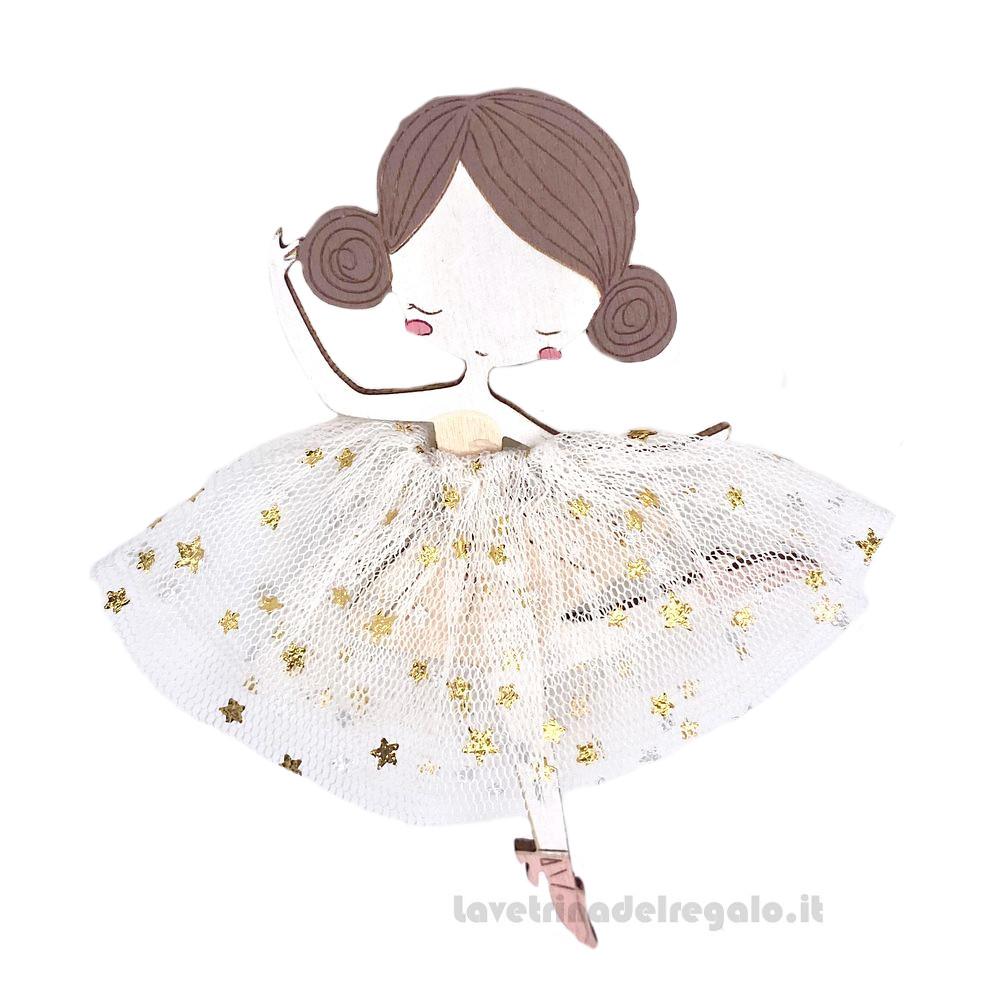 Magnete Ballerina con tutu' in tulle 10 cm - Bomboniera bimba