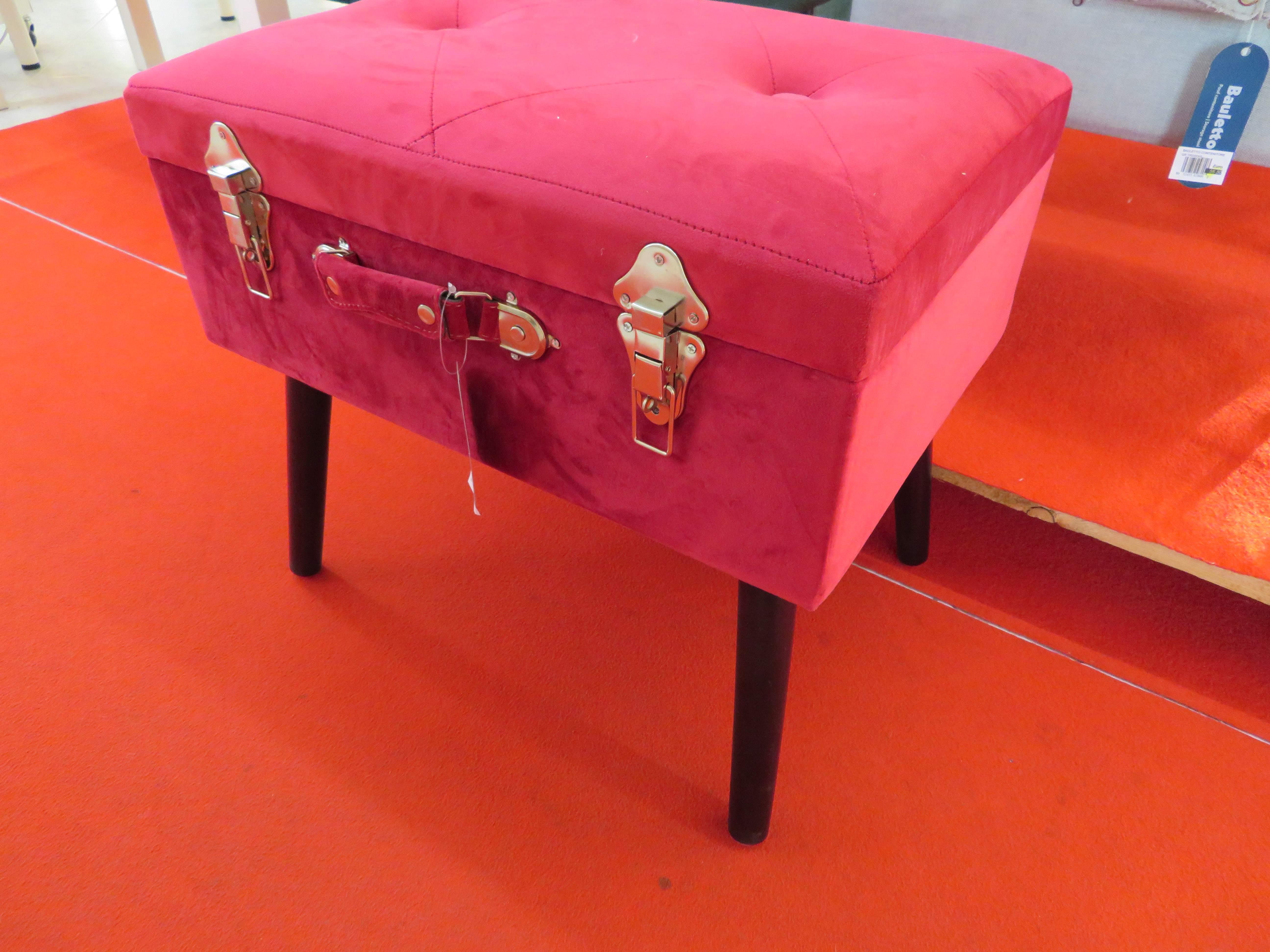 Bauletto contenitore vellutato rosa
