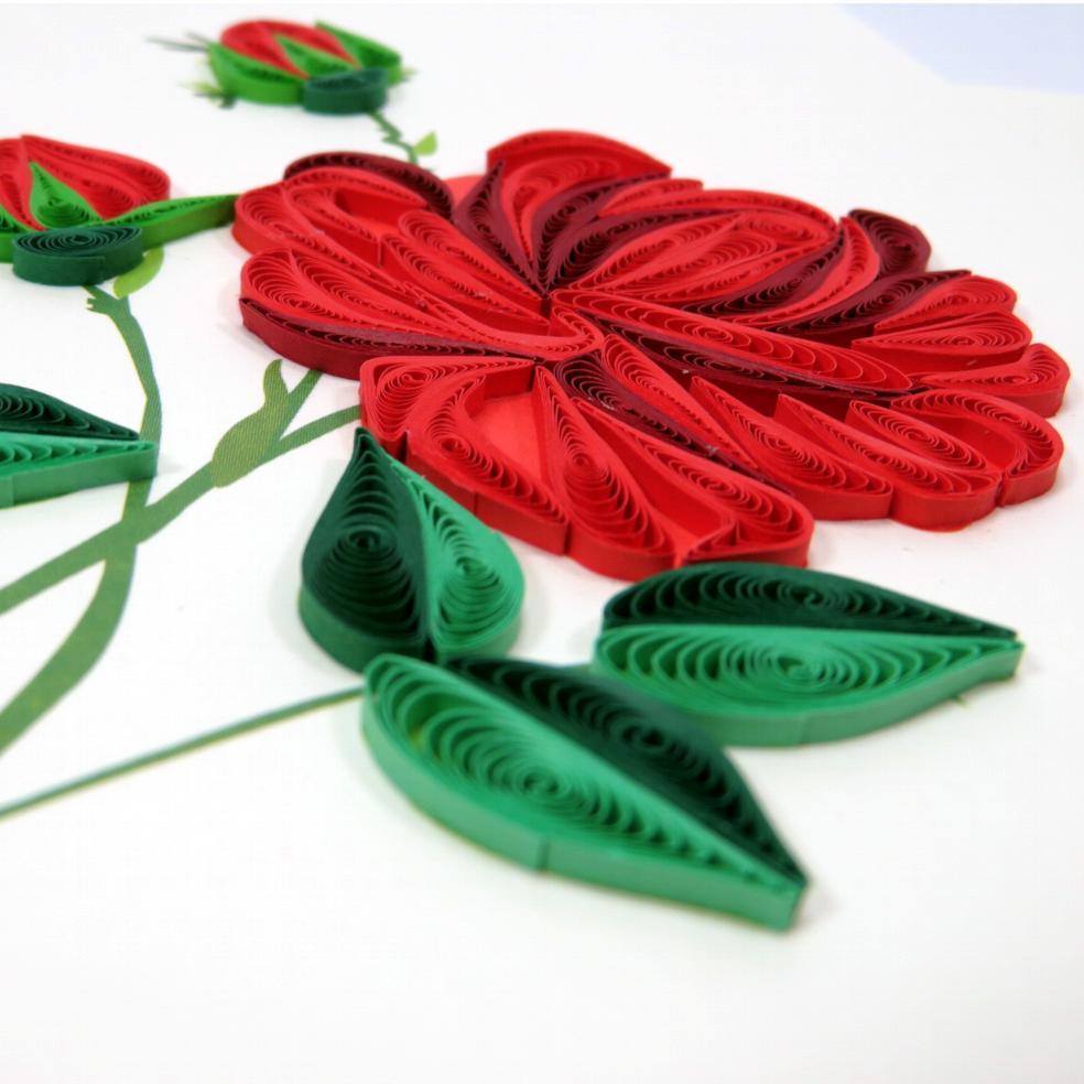 Biglietti augurali in filigrana 'Rosa rossa' Origamo