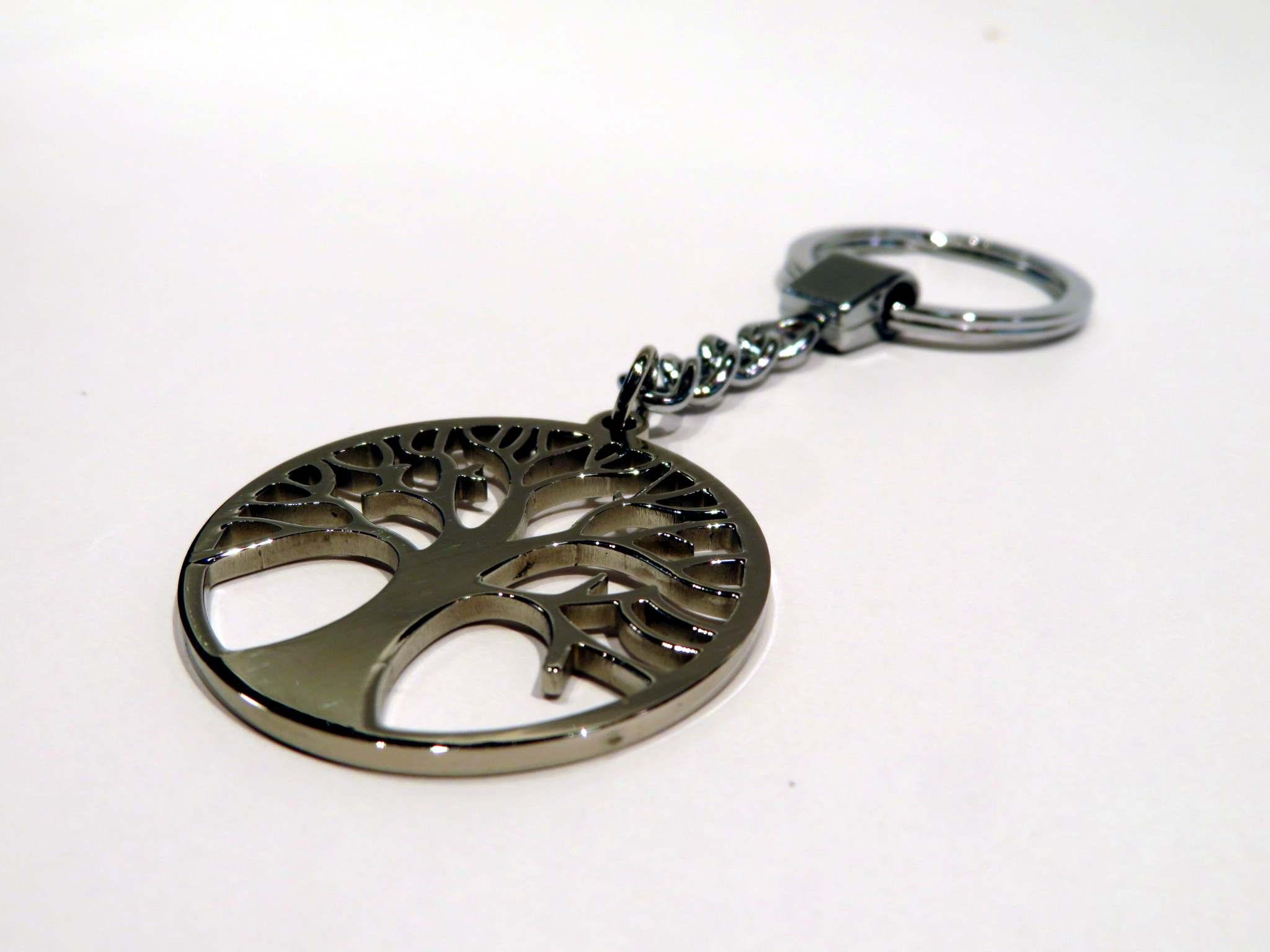Porta chiavi in acciaio albero della vita