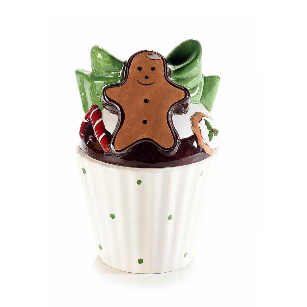 Contenitore a cupcake in ceramica pan di zenzero