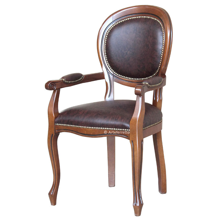 Classic dining chair with armrests Louis Philippe style