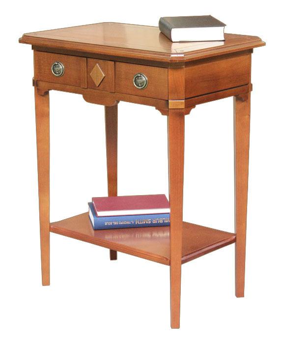 Consola mesa auxiliar en madera maciza con estante inferior