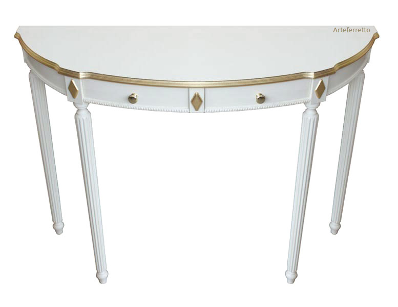 Console table with decorations