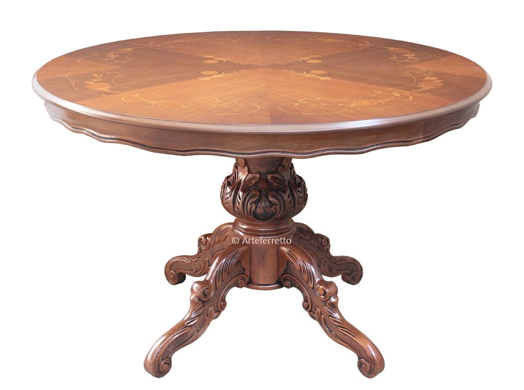 Runder Tisch ausziehbar 120 cm mit Intarsie