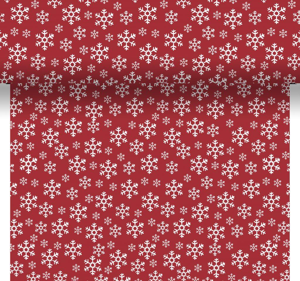 Tovaglia runner RED SNOWFLAKES decorata