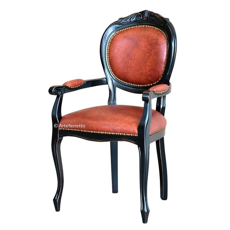 Chaise avec accoudoirs en vrai cuir