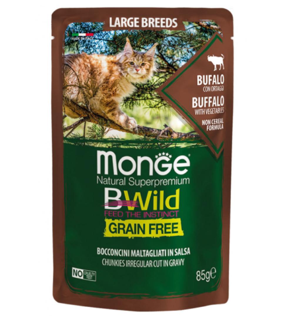 Monge Cat - BWild Grain Free - Large Breeds - Bufalo con Ortaggi - 85g x 28 buste
