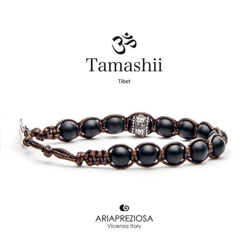 Bracciale Tamashii Ruota Preghiera Onice Satinato BHS1100-64