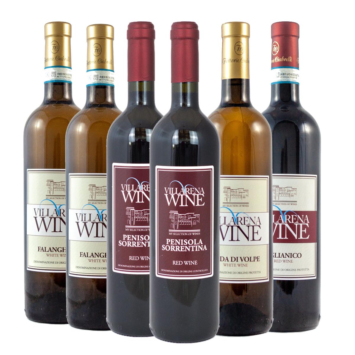 Villarena Wine Combo Penisola Sorrentina Red Wine, Falanghina, Aglianico & Coda di Volpe