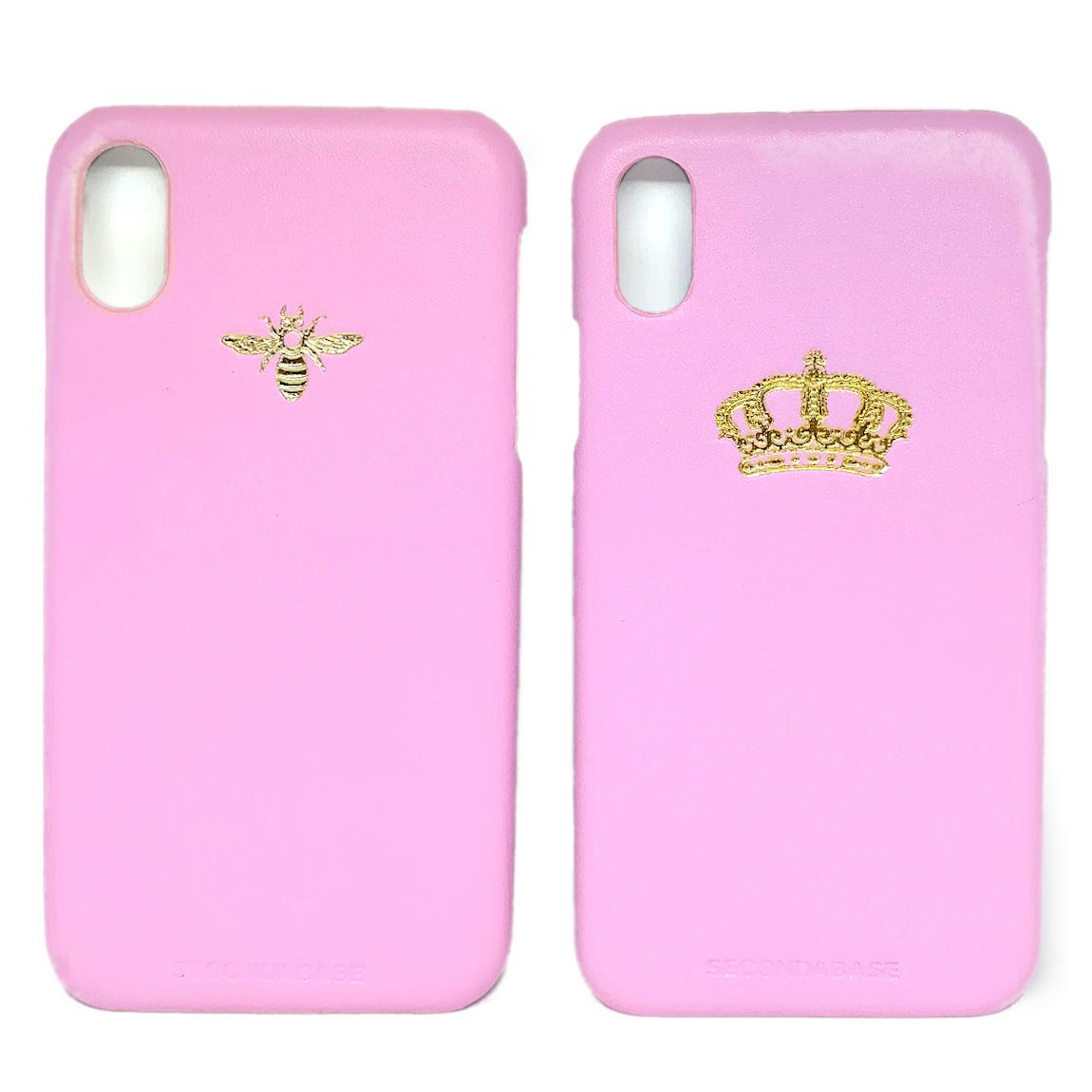 Cover in ecopelle rosa marchiata oro a caldo per iPhone X Xs Xr XMax XsMax