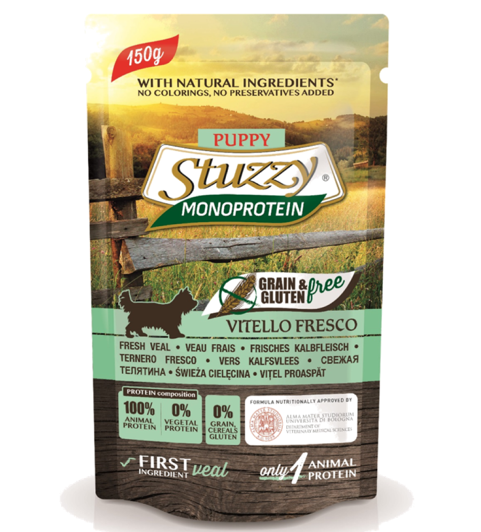 Stuzzy Dog - Monoprotein - Puppy - Vitello - 150g x 6 buste