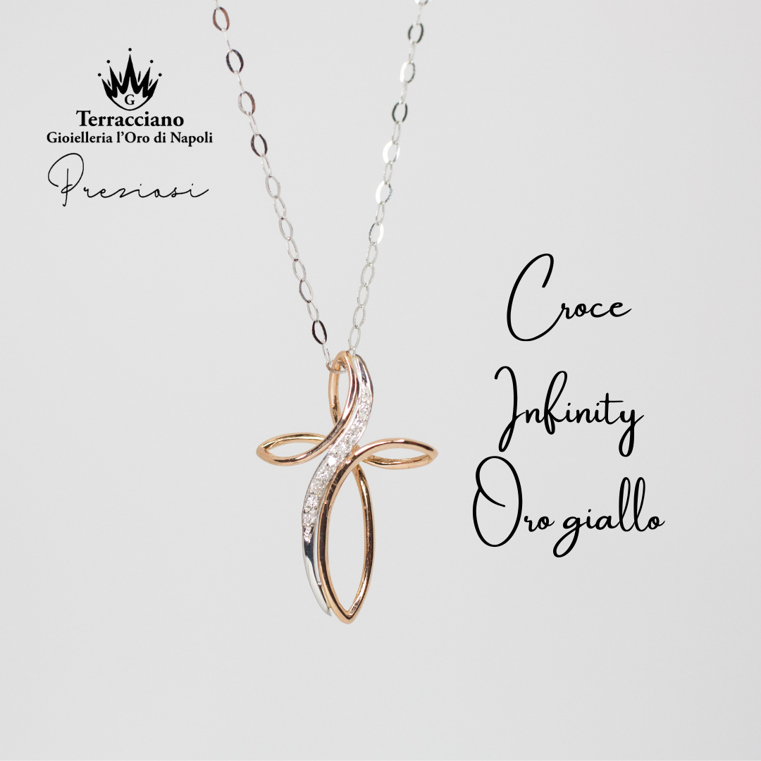 Croce Infinity in oro giallo