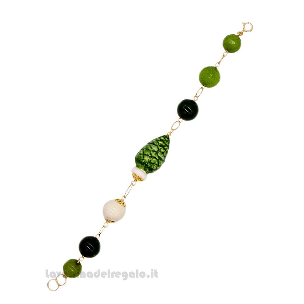 Bracciale agata verde con pigna in ceramica di Caltagirone - Gioielli Siciliani