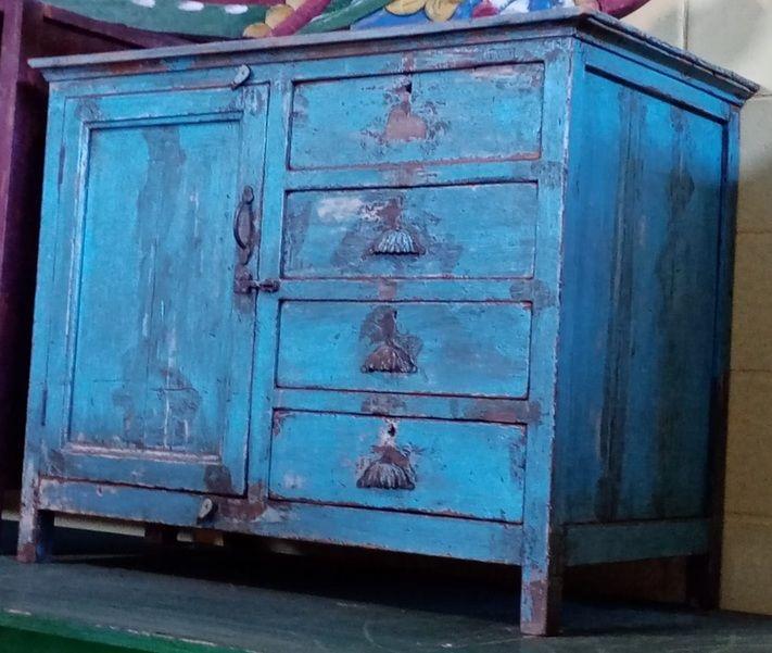 Mobiletto 1 anta 4 cassetti in legno di teak recuperato turchese