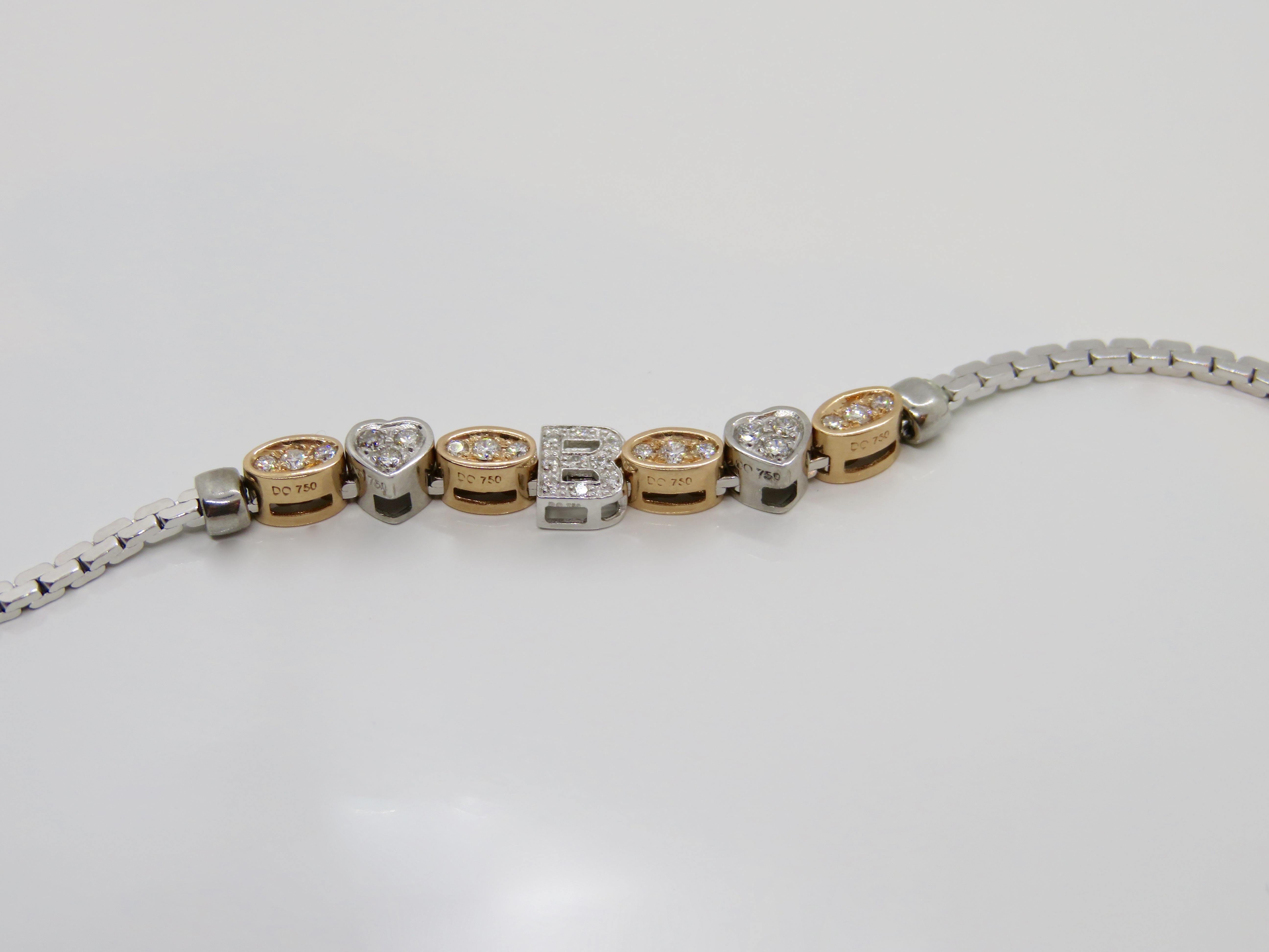 Bracciale Elements Donnaoro lettera E Oro bianco e Diamanti