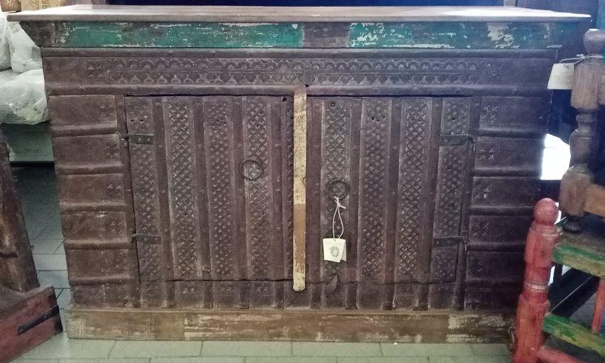 Mobiletto 2 ante in legno di teak recuperato e ferro