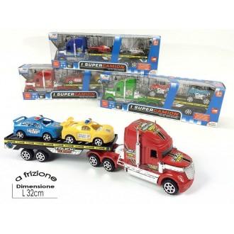 General Trade Super Camion Tir Con Rimorchio e Due Mezzi Macchine Colorate A Frizione Rosso