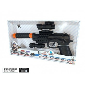 General Trade Pistola Automatica Pk3 Try-Me con Effetti Sonori e Silenziatore