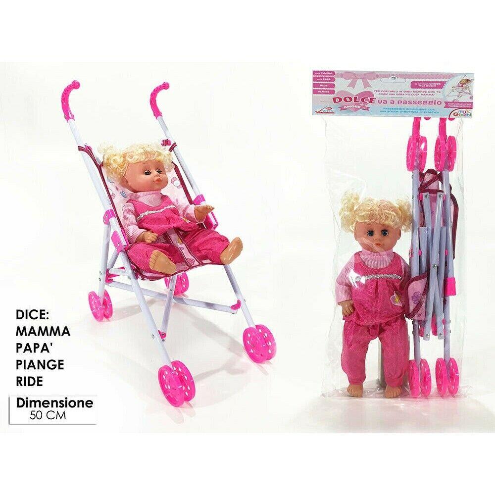 General Trade Bambola e Accessori Dolce Amore Va a Passeggio, Giocattolo per Bambine, Piange Ride e dice Papà