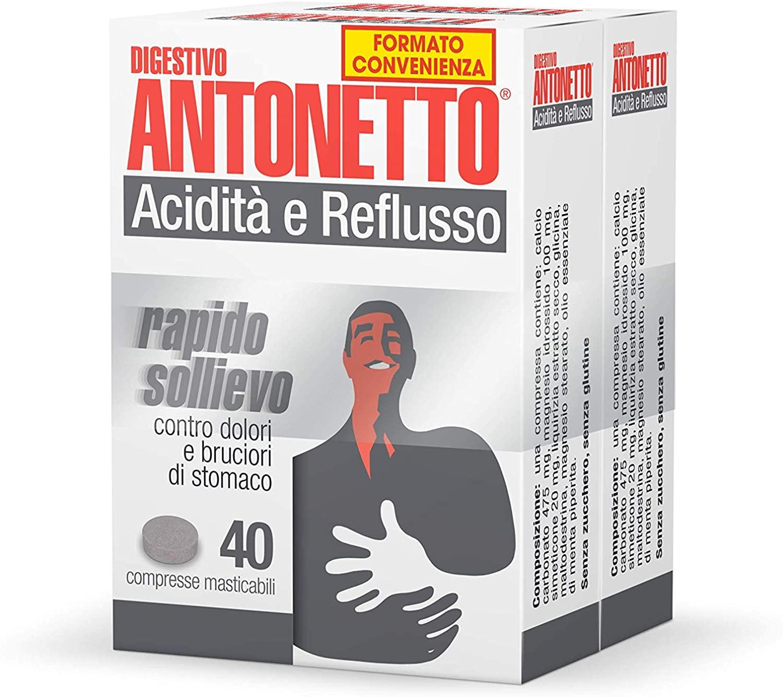 ACIDITÀ E REFLUSSO 40+40 COMPRESSE MASTICABILI RAPIDO SOLLIEVO CONTRO DOLORI E BRUCIORI DI STOMACO.