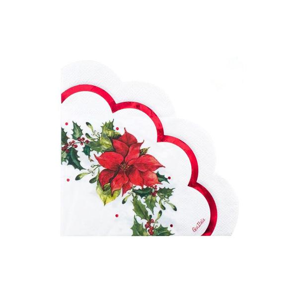 Tovaglioli ETOILE ROUGE smerlo fiore cm. 33x33