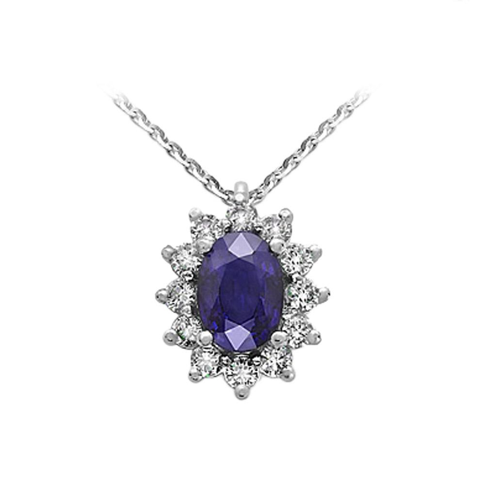 Collana con Zaffiro e Diamanti