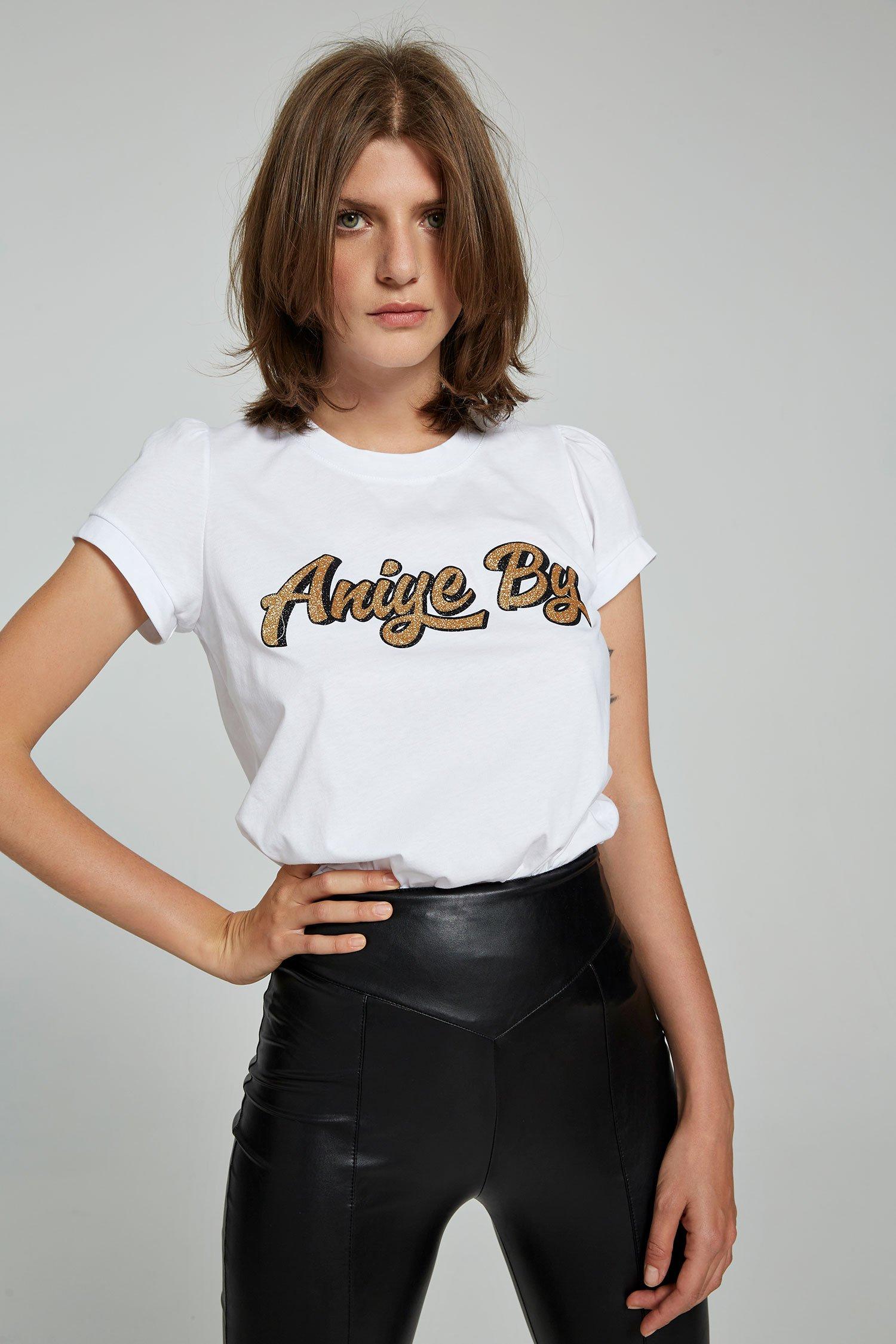 T-shirt logo glitter oro Aniye By