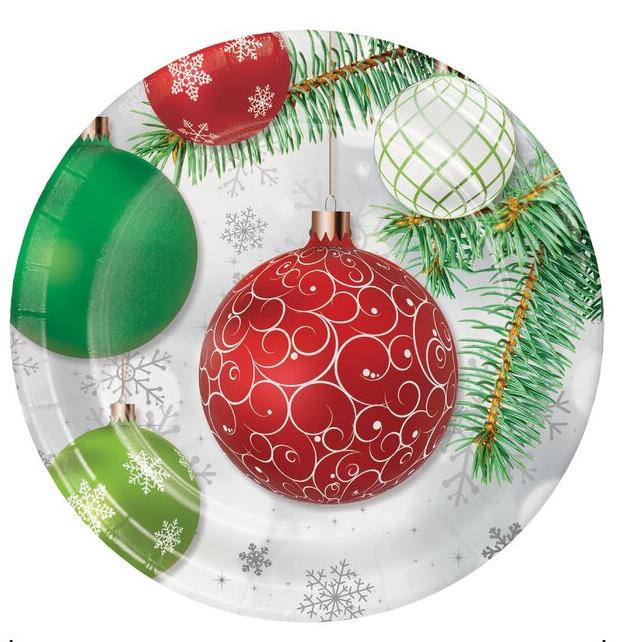 Piatto in cartoncino decoro natalizio cm. 17