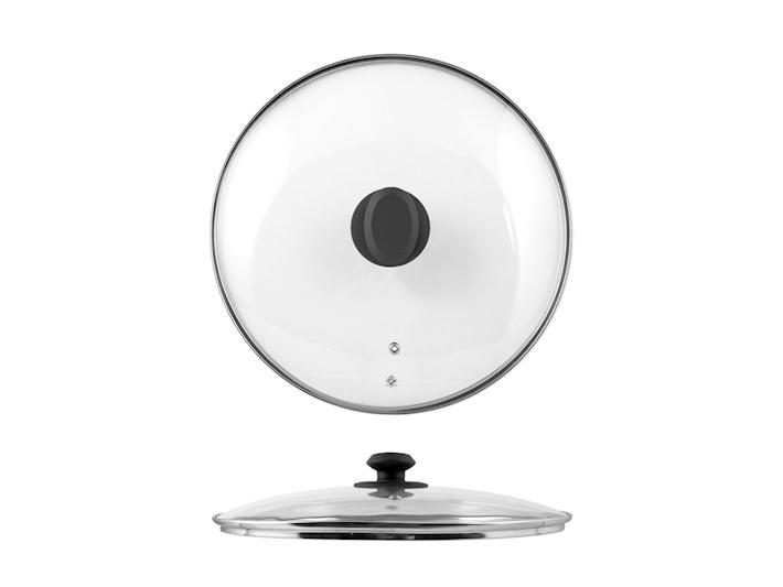 Coperchio in vetro con bordo in acciaio cm26