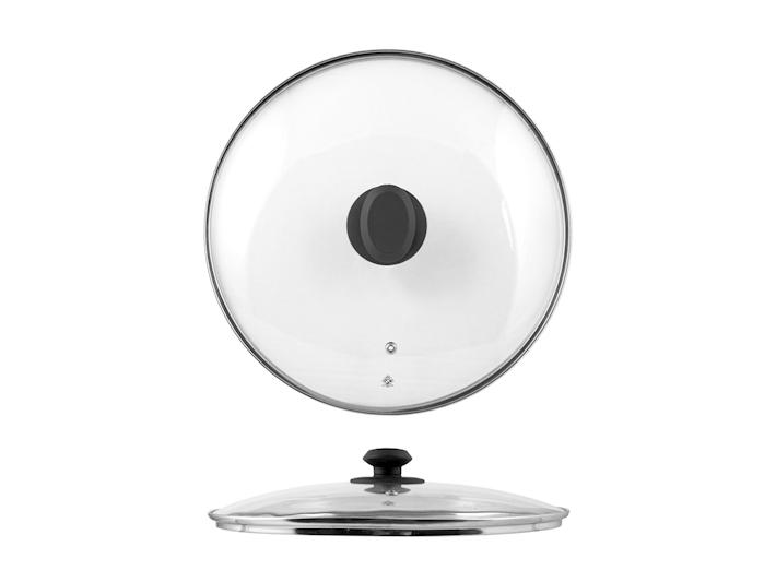 Coperchio in vetro con bordo in acciaio cm28