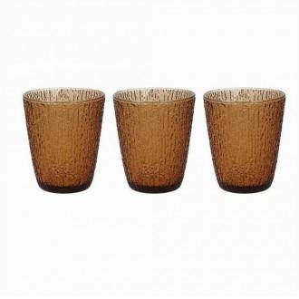 Tognana Davor Ambra Set di 3 Bicchieri Da Acqua 280 cc Colorato Marroncino Ricamato Elegante
