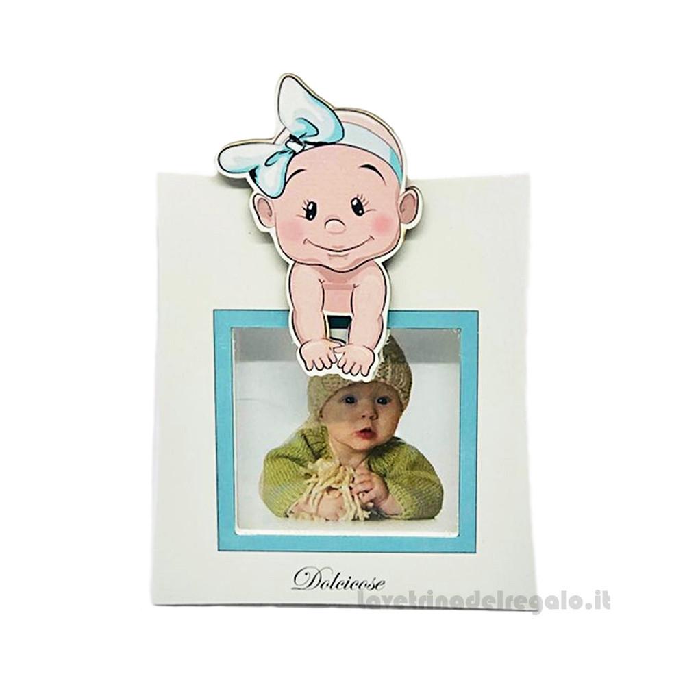 Portafoto Lolita Celeste con bambino 11x15 cm - Bomboniera battesimo bimbo