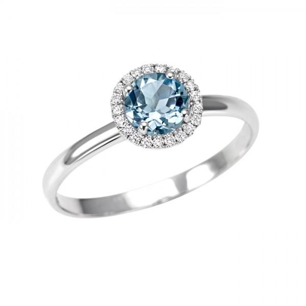 Anello Solitario Acquamarina e Diamanti