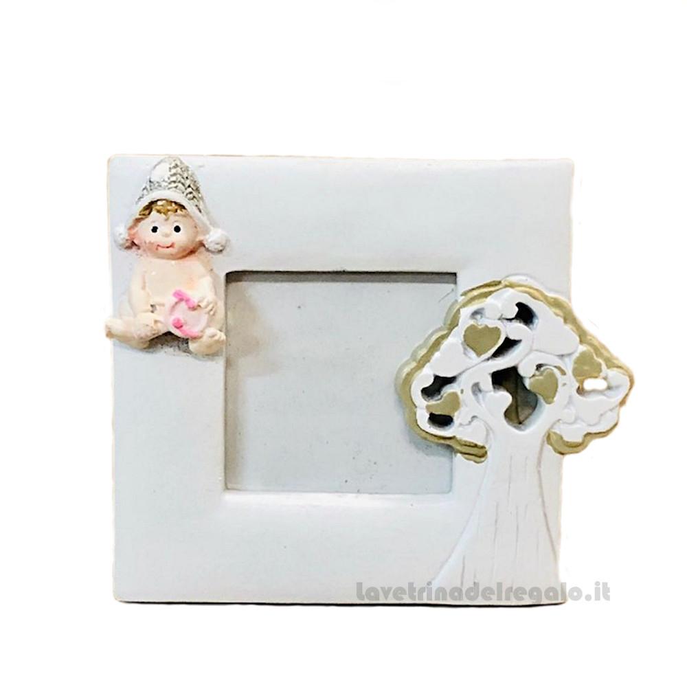 Portafoto con bimba Rosa e Albero della Vita in resina 7.5x9 cm - Bomboniera battesimo bimba
