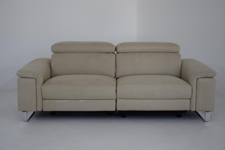 FLORIANE - Divano relax in tessuto tecnico antimacchia e antigraffio con 2 recliner elettrici e poggiatesta regolabili