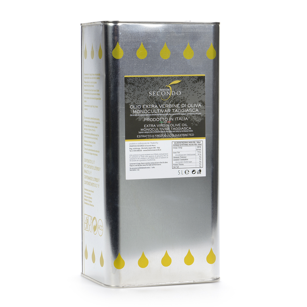 Latta da 5 litri di olio extra vergine di oliva monocultivar taggiasca