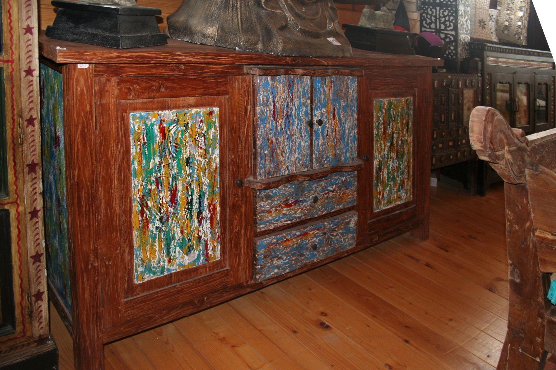 Credenza ampia in legno di teak recuperato con 4 ante 2 cassetti