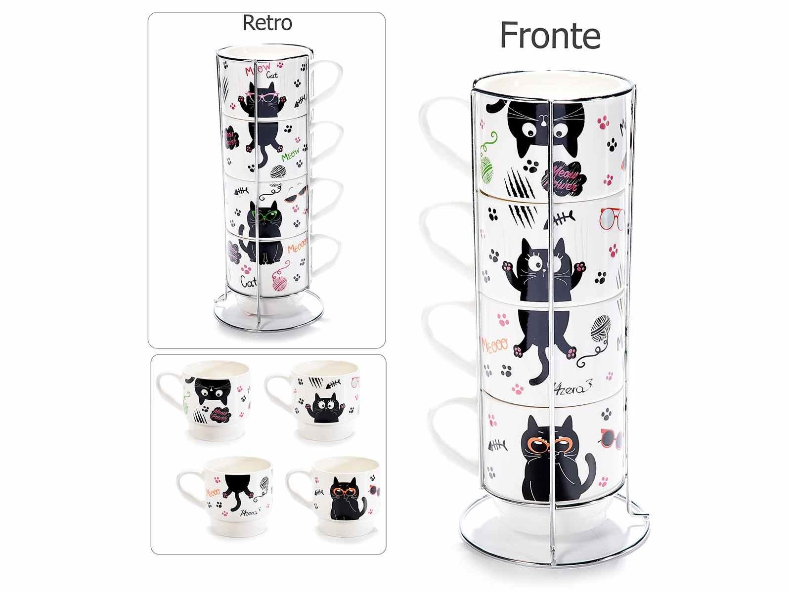 Set 4 tazze in porcellana