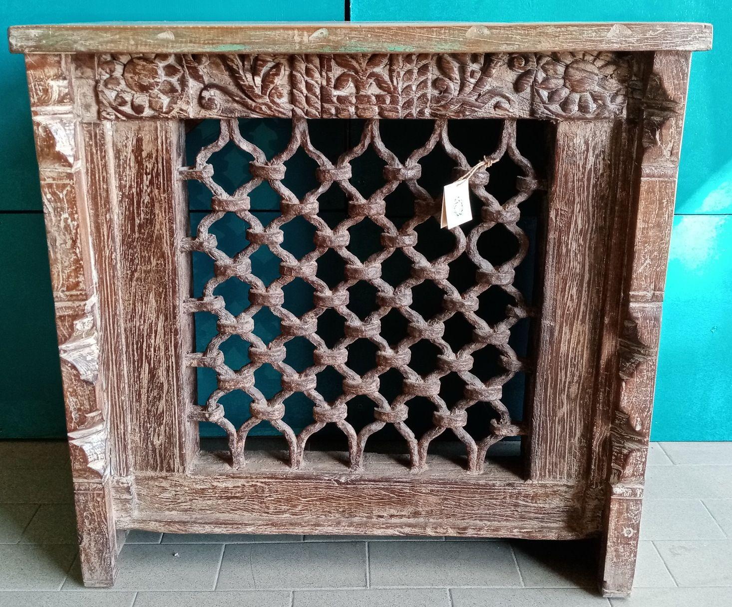Console piccola/mobiletto in legno recuperato di teak ed inferriata