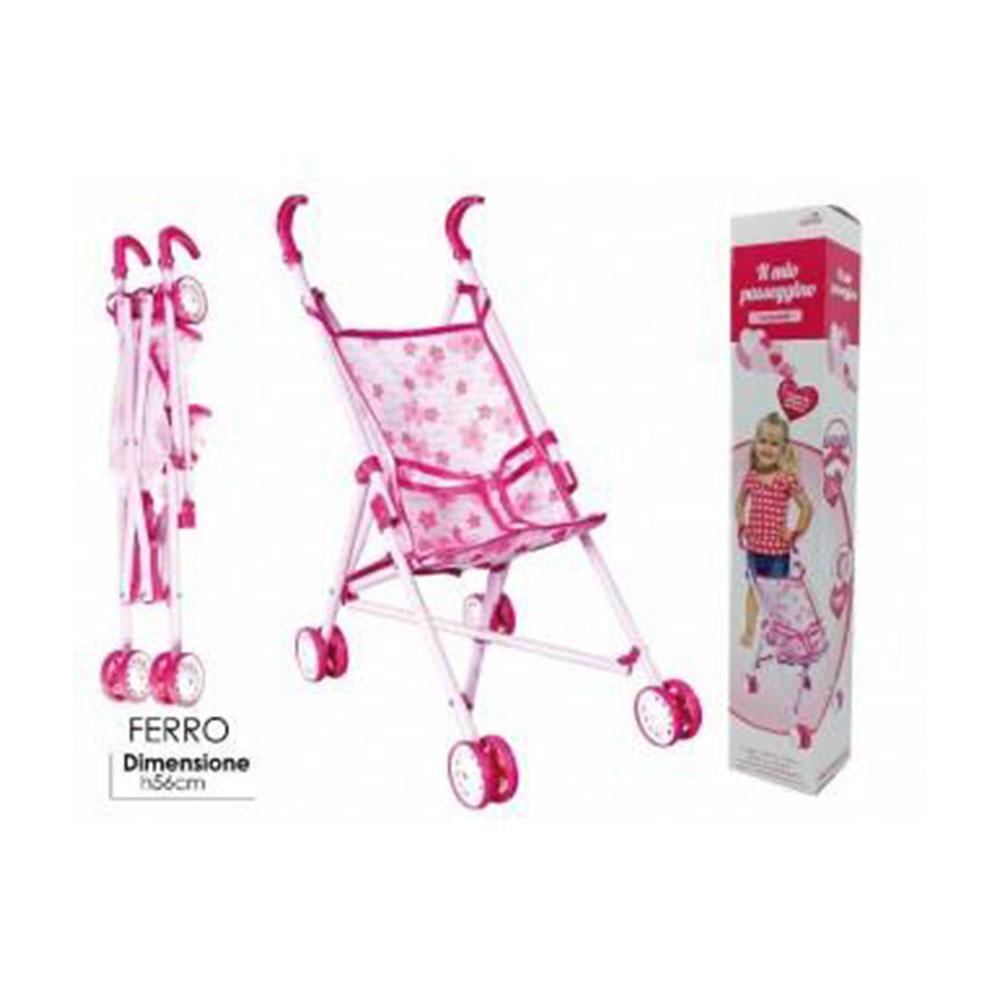 General Trade Il Mio Passeggino Rosa Passeggino in Ferro Rosa Colorato Decorato per Bambole e Bambolotto Bambine
